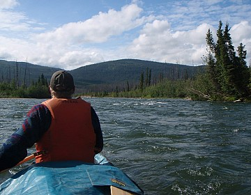 Approaching a riffle on Big Salmon