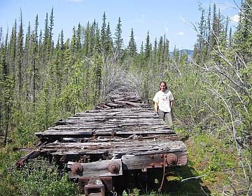 Gillian by railcars at Coal Creek Yukon